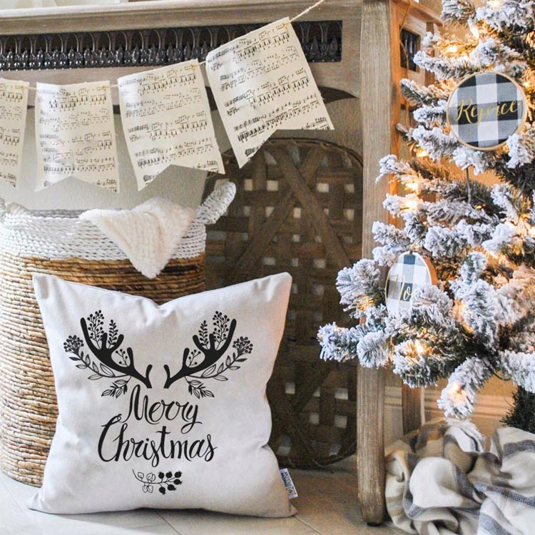 "Christmas Throw Pillow ""Flourishing Christmas"" - Fantastic gift for family, friends and loved"
