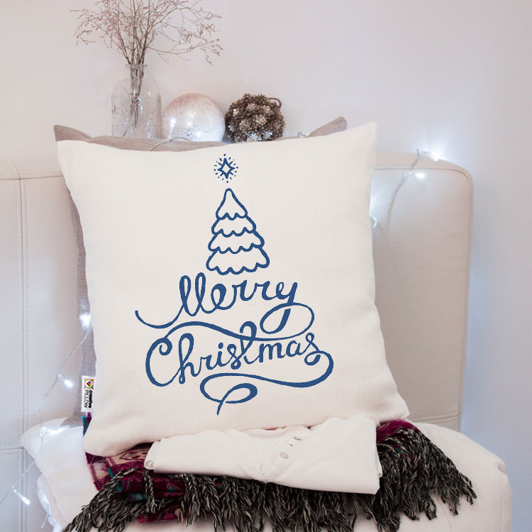christmas throw pillow merry christmas with blue tree fantastic gift for family