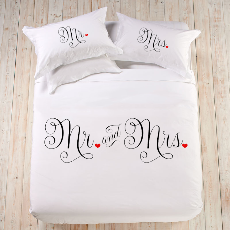 Bedding Set Quot Mr And Mrs Quot Creative Pillow